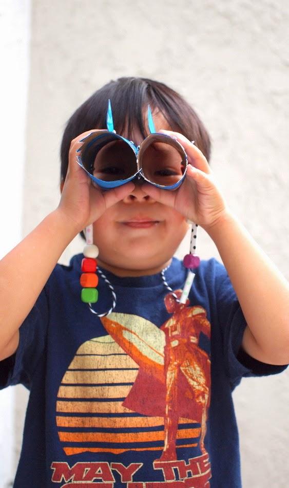 make a pair of shark binoculars with the kids