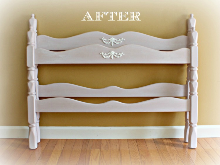 Twin bed painted in Antoinette Pink and white