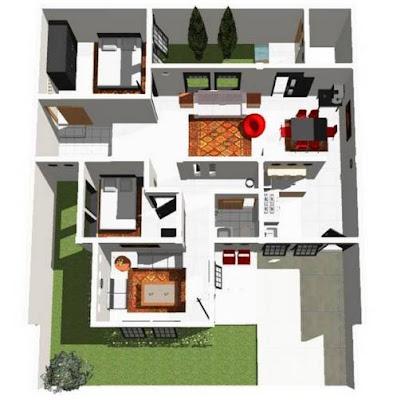 Model Denah Rumah Minimalis 1 Lantai Type 36 Terbaru