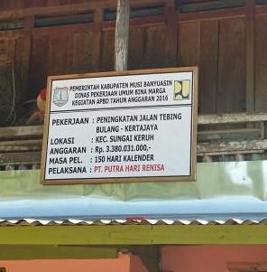 Diduga Proyek Peningkatan Jalan Tebing Bulang- Kerta Jaya Curi Start