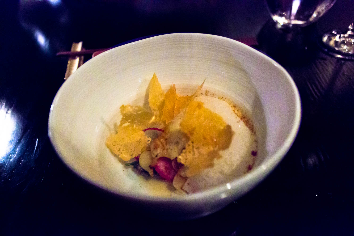 sepia abalone chicken skin roast onion sweet onion dashi and daikon