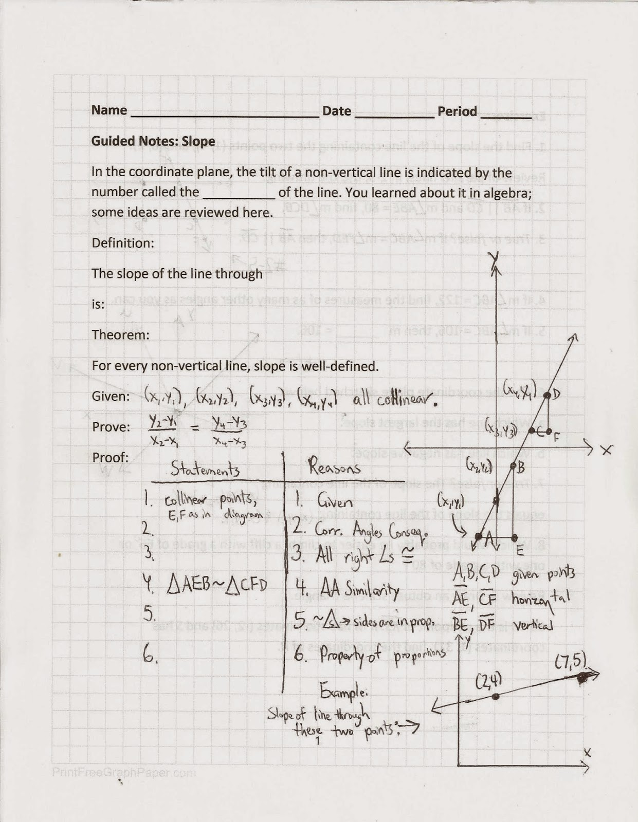 Geometry Common Core Style Slope Based In Part On