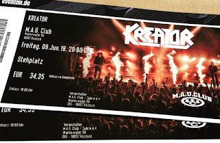 poza cu bilete pentru concertul Kreator din Rostock
