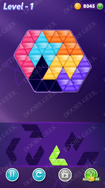 Block! Triangle Puzzle Intermediate Level 1 Solution, Cheats, Walkthrough for Android, iPhone, iPad and iPod