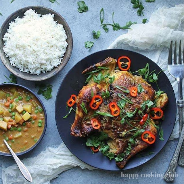 Oven Roasted Whole Curry Chicken with Vegetables and Rice