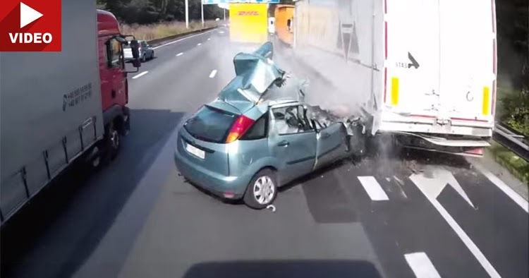 Woman Hits Truck Gets Struck By 2nd Truck Yet Makes It