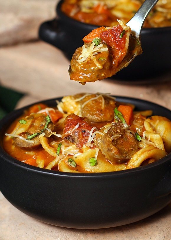Hearty Italian Basil Sausage Soup