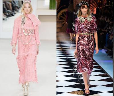 Conjuntos y vestidos de lentejuelas: todos con rosa.