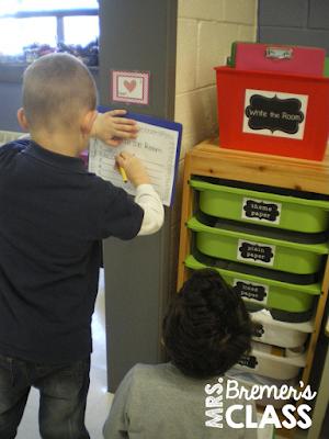 Valentine's Day write the room literacy activity center