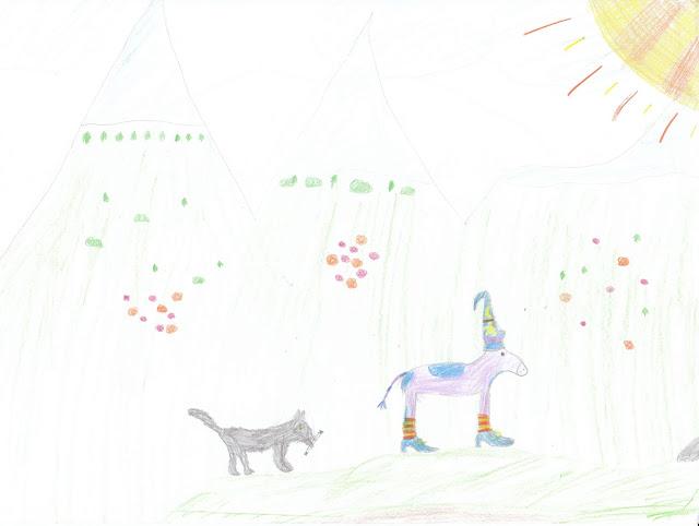 Schülerzeichnung - Zilly ist in eine Kuh verwandelt