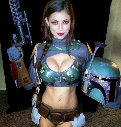 female bobba fett cosplay large breasts