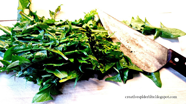 chopping dandelion leaves for dandelion pesto