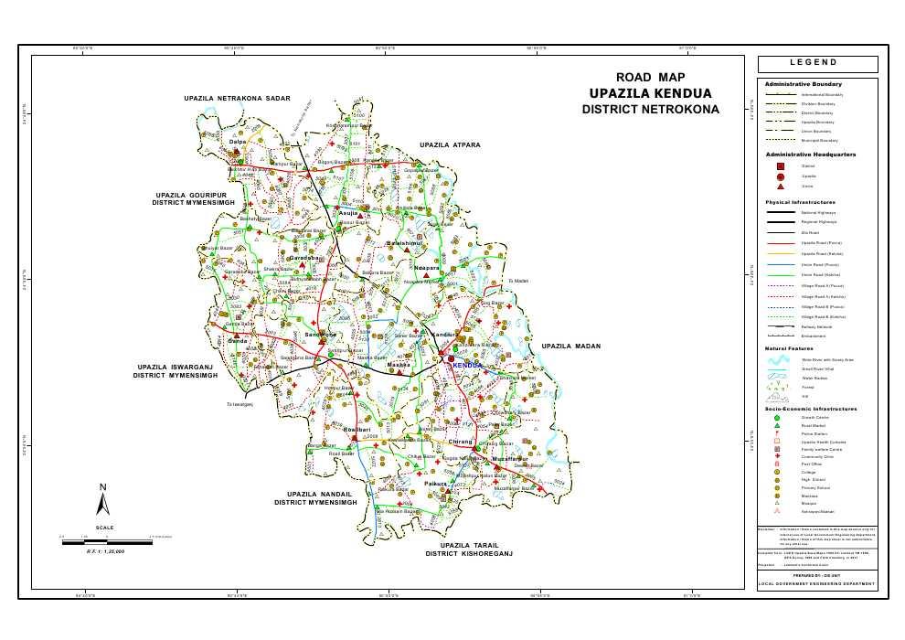 Kendua Upazila Road Map Netrokona District Bangladesh