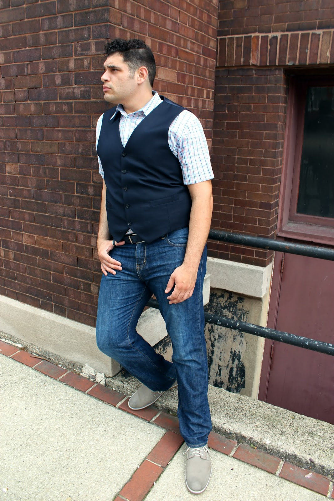 What he wore big tall vested casual curvatude a for Mens tall denim shirt