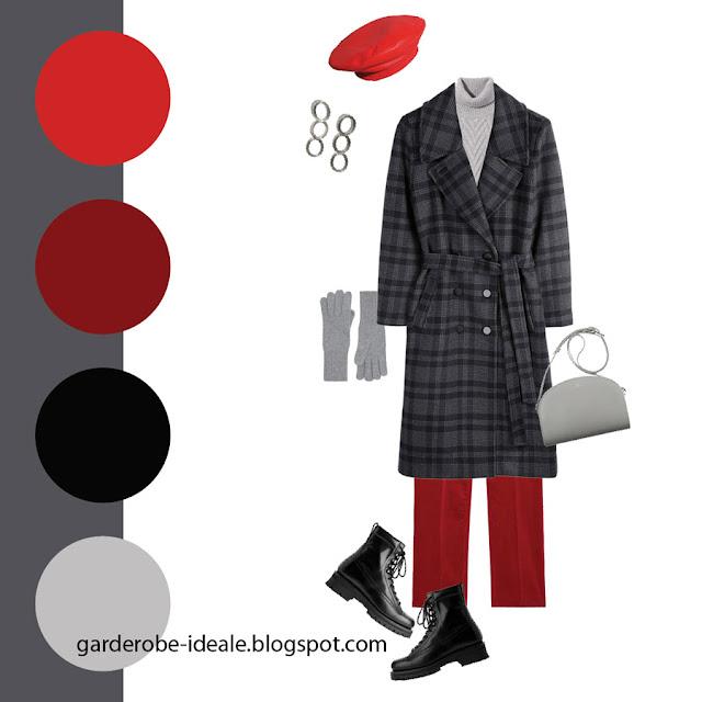 Сочетание серого пальто в клетку с красным беретом и красными брюками