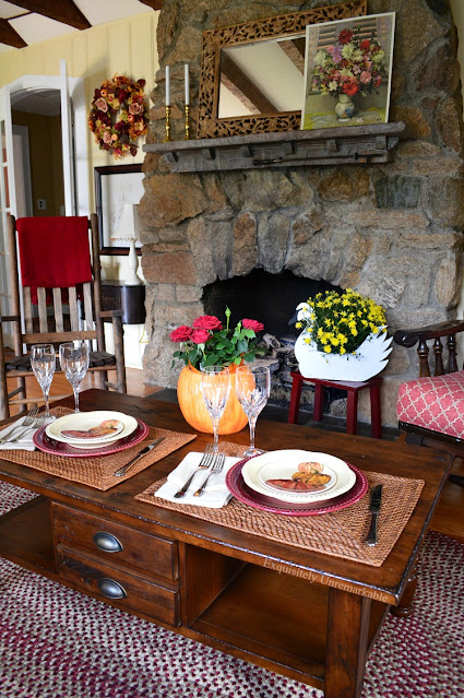 Rustic Stone Fireplace Fall Dinner For Two