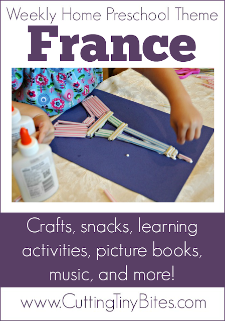 France Theme Weekly Home Preschool. Crafts, snacks, music, field trip, picture books, and more! Perfect amount of activities for one week of EASY homeschool pre-k.