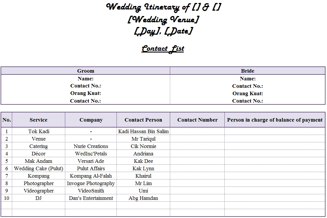 Our Wedding Itinerary Everything anything with a pinch of zzanyy