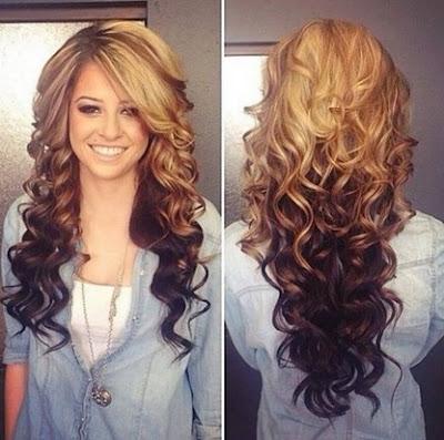 potongan model rambut panjang gelombang wanita tahun 2015