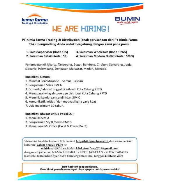 Lowongan PT Kimia Farma Trading & Distribution Minimal Pendidikan S1 Semuar Jurusan