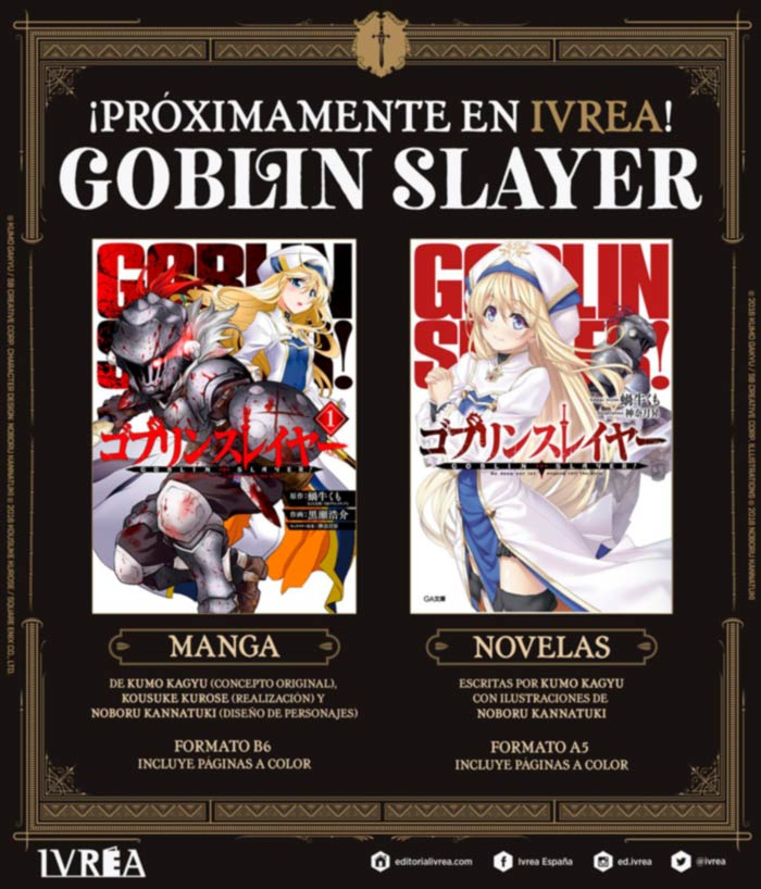 Goblin Slayer - manga y novela - Ivrea