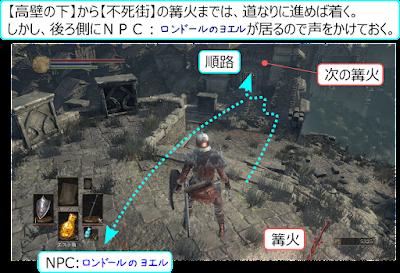 DarkSouls3 不死街 攻略 地図 マップ 高壁の下 ヨエル