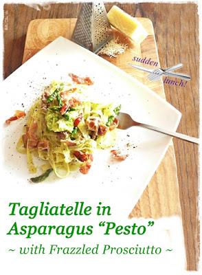 dish of tagliatelle, asparagus pesto, crispy prosciutto, paremesan