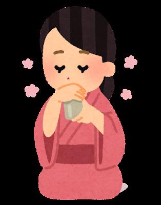 香りを聞く女性のイラスト(香道)
