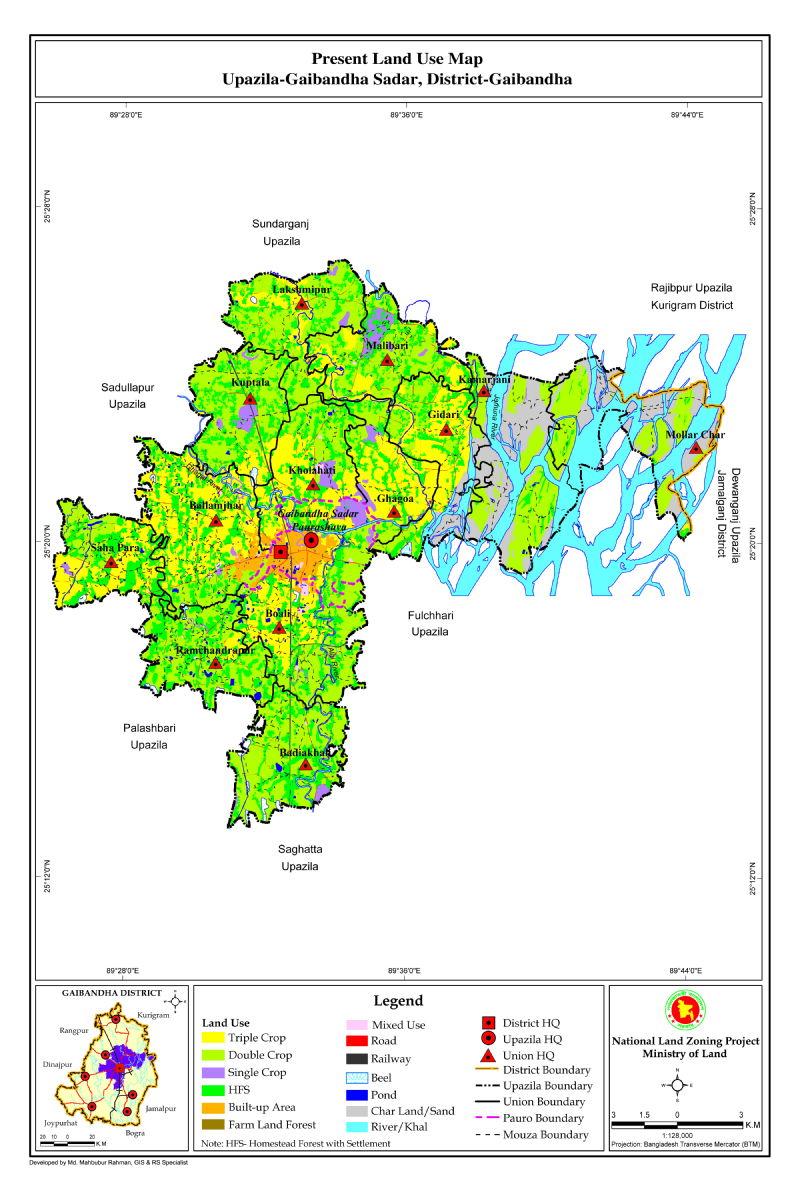 Gaibandha Sadar Upazila Mouza Map Gaibandha District Bangladesh