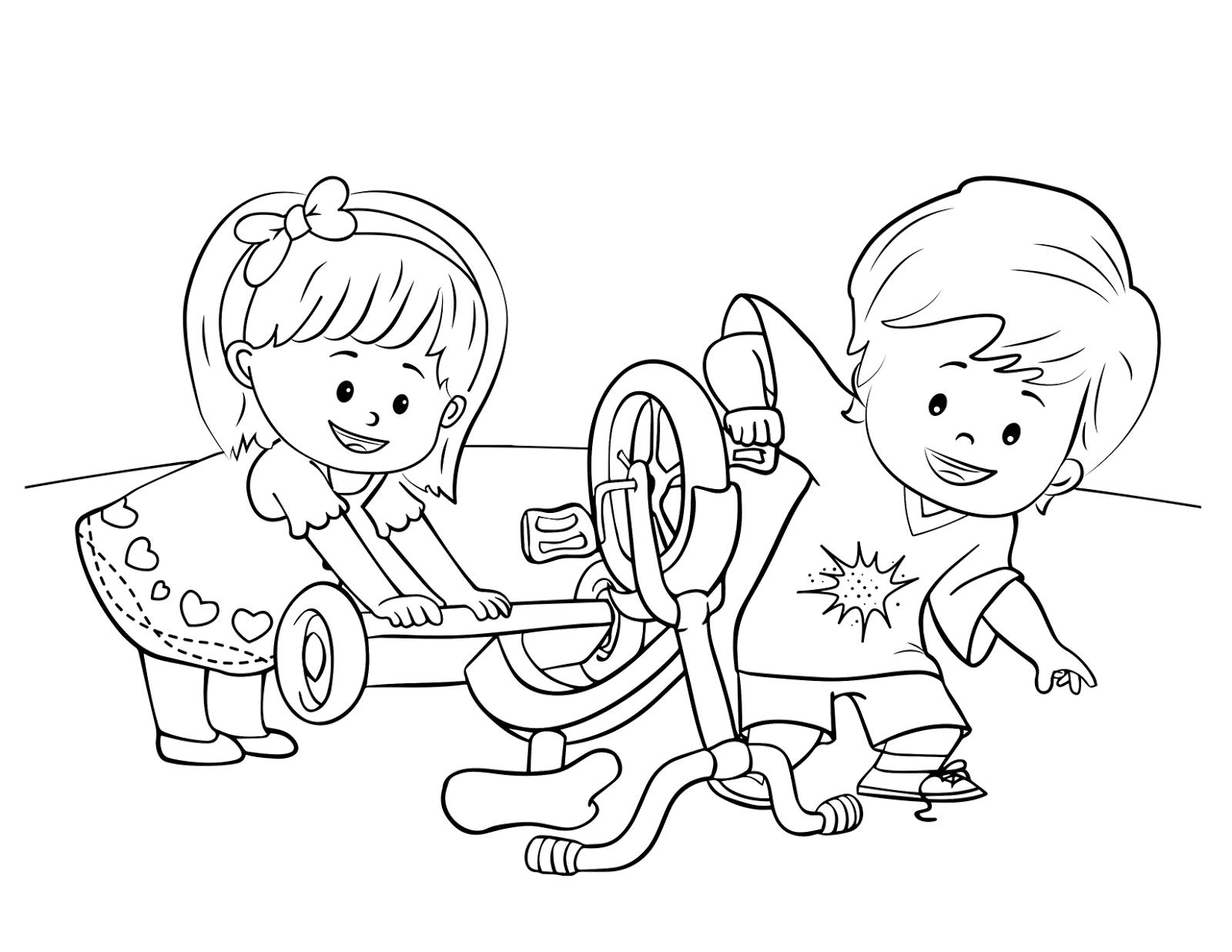 gambar mewarnai anak yang sedang bermain aneka gambar