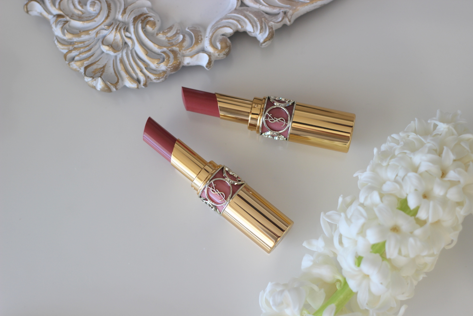 d20e949ff45d I present to you the YSL Rouge Volupte Shine Oil-in-Stick in the shade 44  Nude Lavalliere and shade 47 Beige Blouse and they are not the same.