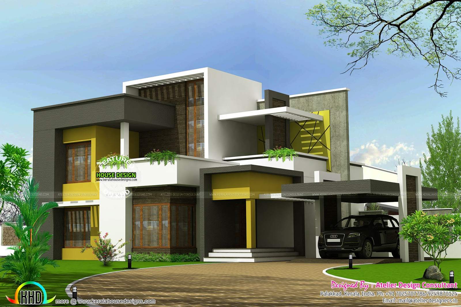 2625 sq ft flat roof box type home kerala home design for Modern box type house design