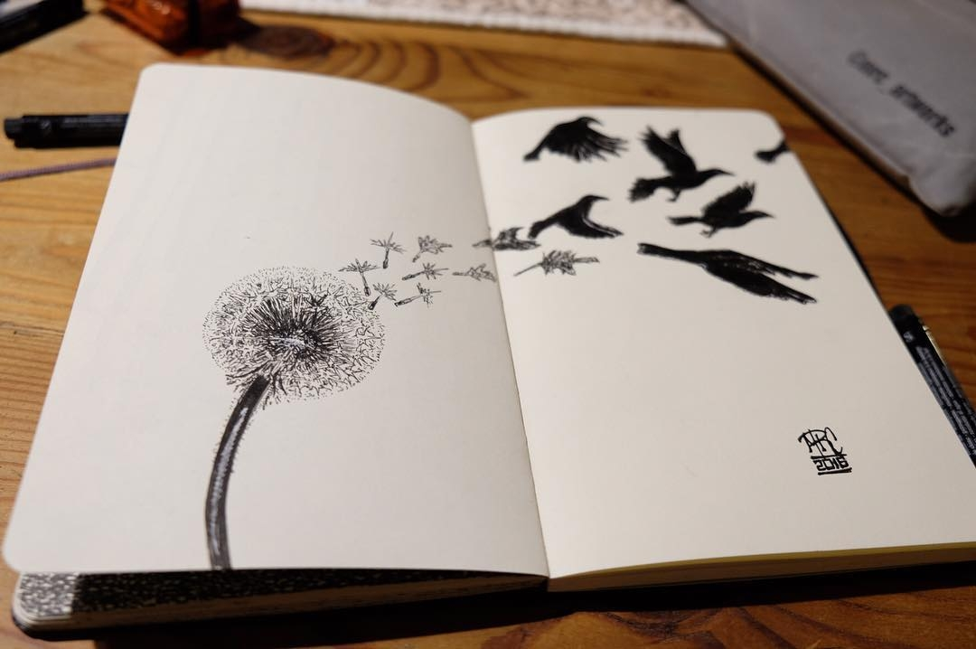 10-Birth-of-a-Crow-mrc_artworks-Sketching-Inspirations-on-a-Moleskine-Notebook-www-designstack-co