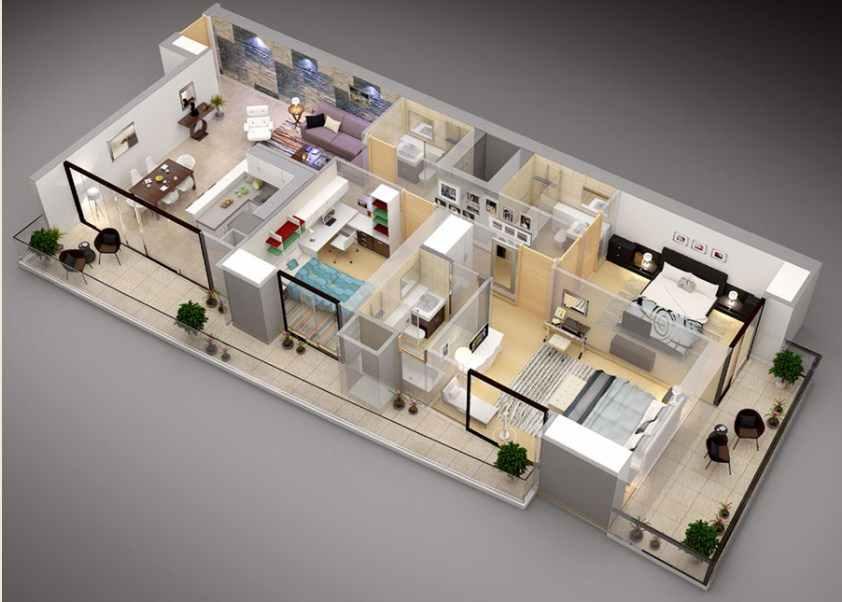 Denah Rumah Minimalis 3 kamar tidur 3D & 75 Denah Rumah Minimalis 3 kamar tidur 3D Yang Modern dan Terbaru ...