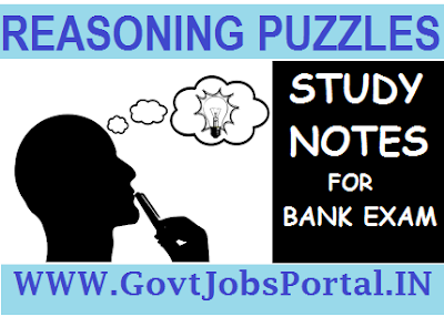 REASONING LOGIC PUZZLE STUDY NOTES FOR BANK EXAM