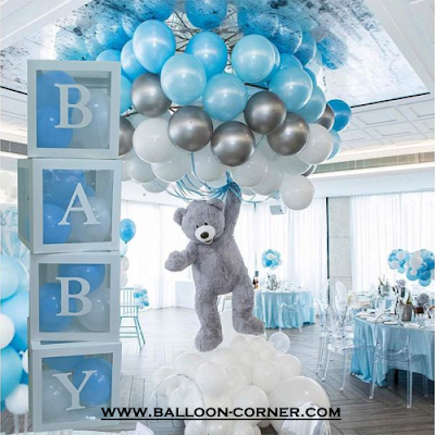 Ide Dekorasi Baby Shower Dengan Box Balon Huruf Transparan