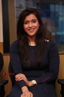 Actress Mannara Chopra Stills in Blue Short Dress at Rogue Song Launch at Radio City 91.1 FM  0061.jpg