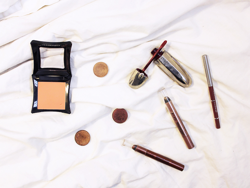summer makeup look routine no foundation natural everyday bronze brown smokey eye mac patina eyeshadow coastal scents cherry chocolate medieval gold