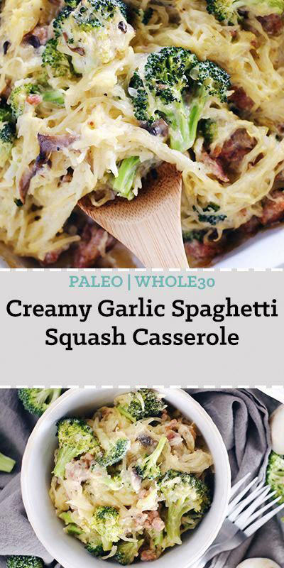 Creamy Garlic Spaghetti Squash Casserole