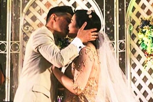 Joseph Bitangcol and Francesca Tonson Wedding Kiss