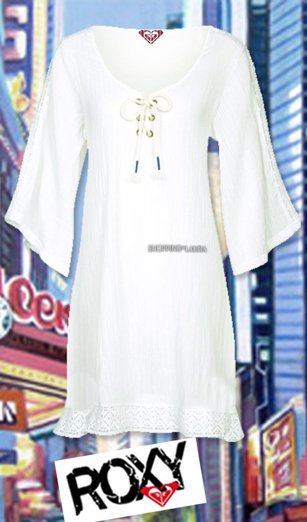 Tunique blanche en coton et dentelle ROXY