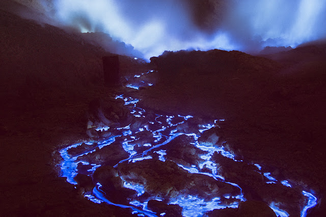 Blue Fire Crater Indonesian Volcano Very Beautiful