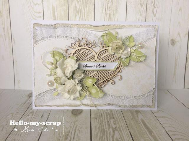 kartka ręcznie robiona z okazji ślubu