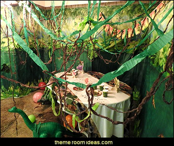 jungle dino party decorating