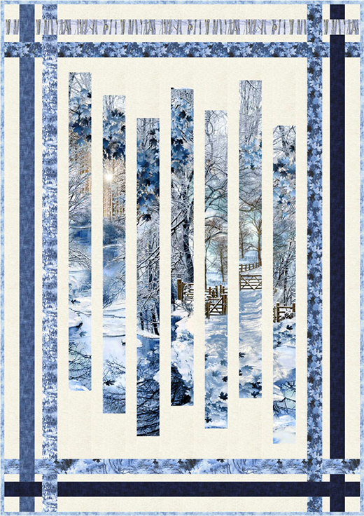 Scenic Snowfall Fracture Quilt Free Pattern designed by Pam See of Timeless Treasures fabrics
