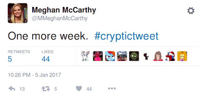 "Meghan McCarthy tweet saying ""One more week."""