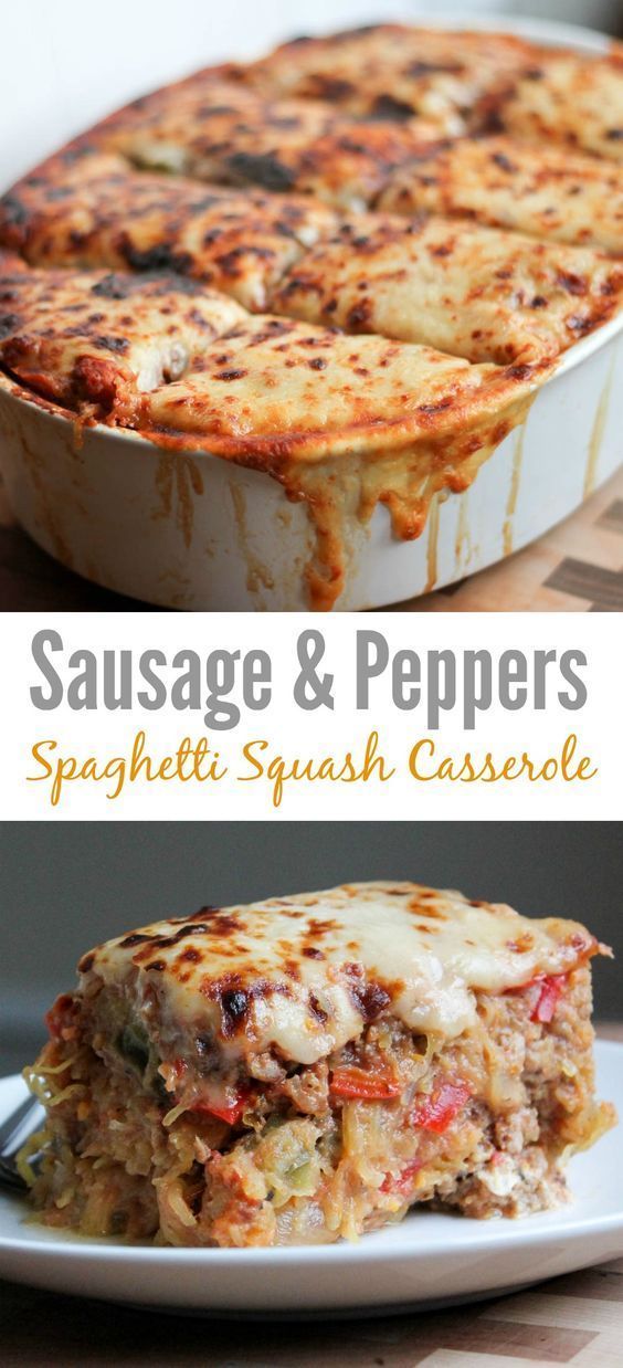 Sausage and Peppers Spaghetti Squash Casserole #maincourse #sausage #peppers #spaghetti #squash #casserole