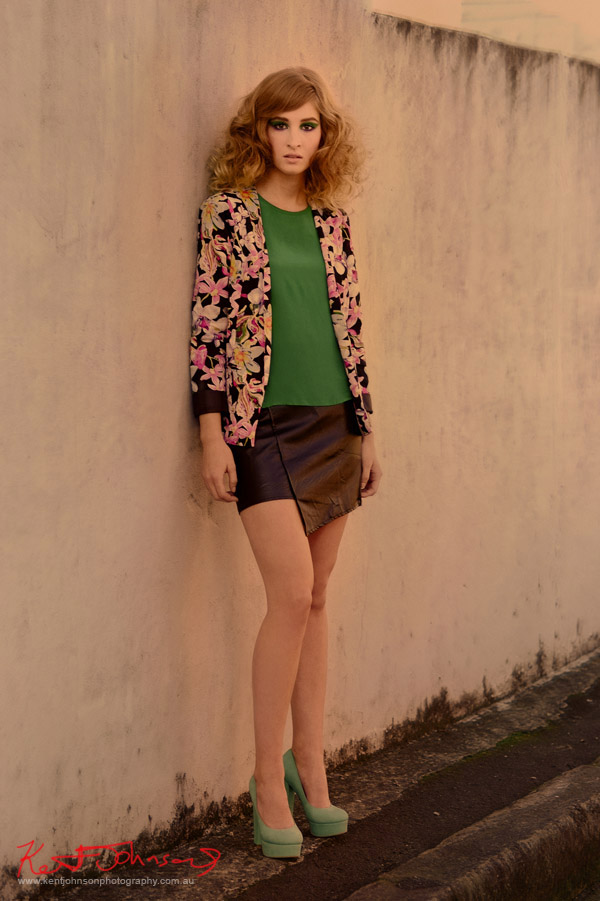 Urban location fashion shoot - Stylists own floral Jacket, St Frock top & skirt. Fashion Photography by Kent Johnson
