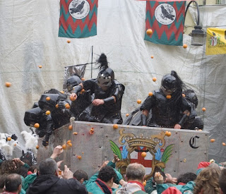 The Battle of the Oranges in Ivrea is a carnival tradition