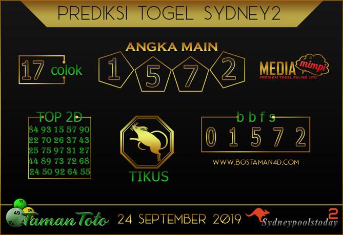 Prediksi Togel SYDNEY 2 TAMAN TOTO 24 SEPTEMBER 2019